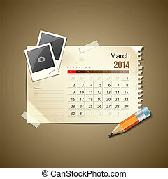 2014, calendario, marzo
