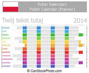 2014, calendario, planificador, polaco
