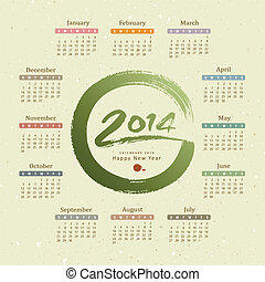 2014, calendario, testo, spazzola, vernice