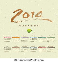 2014, calendario, texto, cepillo, pintura