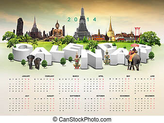 2014, calendario, viaje, plano de fondo