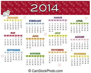 2014, calendrier