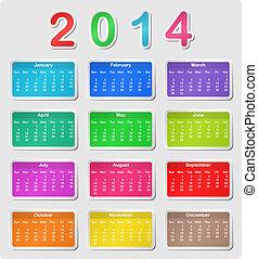 2014, calendrier, coloré