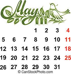 2014, calendrier, mai
