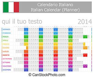2014, calendrier, planificateur, italien
