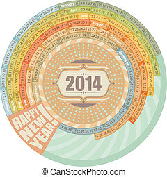 2014, calendrier, rond