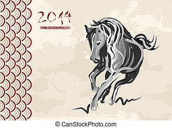 2014, cavallo, nuovo, cinese, anno