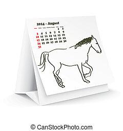 2014, cheval, août, calendrier, bureau