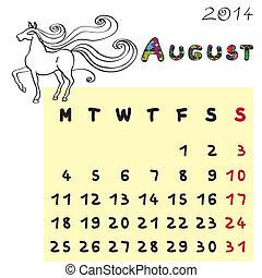 2014, cheval, calendrier, août