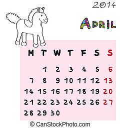 2014, cheval, calendrier, avril