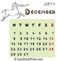 2014, cheval, calendrier, décembre