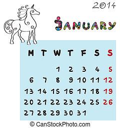 2014, cheval, calendrier, janvier