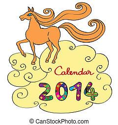 2014, cheval, couverture, calendrier