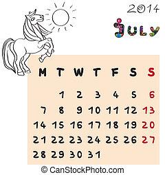 2014, cheval, juillet, calendrier