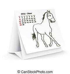 2014, cheval, juin, calendrier, bureau
