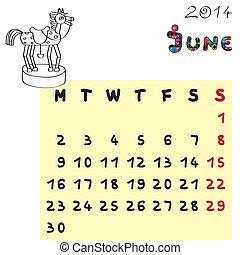 2014, cheval, juin, calendrier