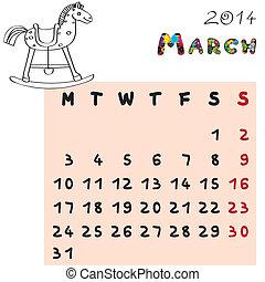 2014, cheval, mars, calendrier