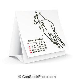 2014, cheval, octobre, calendrier, bureau