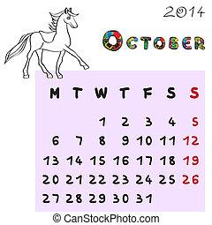 2014, cheval, octobre, calendrier