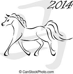 2014, cheval, vecteur