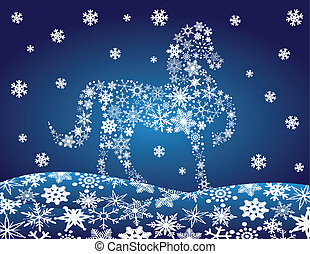2014 Chinese Horse with Snowflakes Night Winter Scene