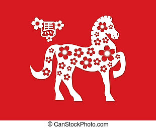 2014, chino, caballo, papel, corte, en, fondo rojo