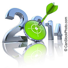 2014 - 3D rendering of a 2014 icon