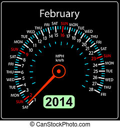 2014, coche, vector., año, february., calendario, velocímetro