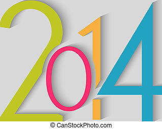 2014, colorare, felice, nuovo, fondo, anno