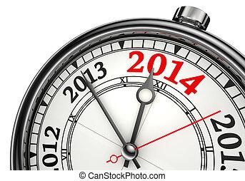 2014, concept, année, changement, horloge
