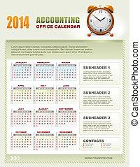 2014, contabilità, calendario, con, settimana, numeri,...