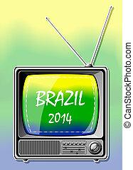2014, couleur, tv., été, brésil, vecteur, illustration.