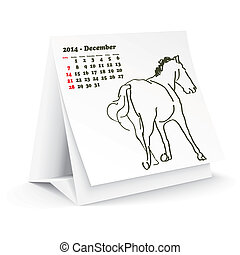 2014, décembre, cheval, calendrier, bureau