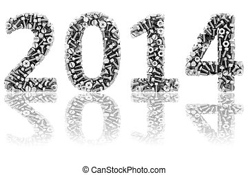 2014 digits composed of differnt bolts and nuts on glossy white