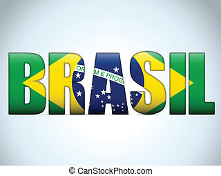 2014, drapeau, lettres, brasil, brésilien