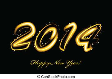 2014, encendido, vector, año nuevo