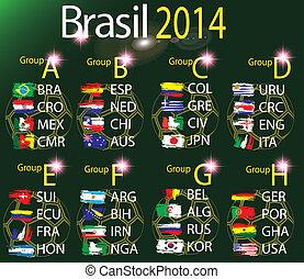 2014, equipe, brasil, grupos, copo