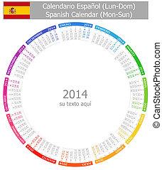 2014, español, círculo, calendario, mon-su