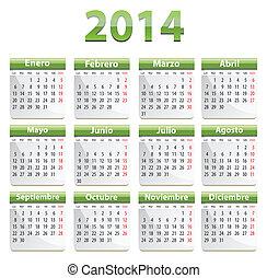 2014, español, calendario