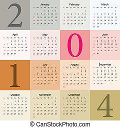 2014, färgrik, kalender