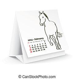 2014, février, cheval, calendrier, bureau
