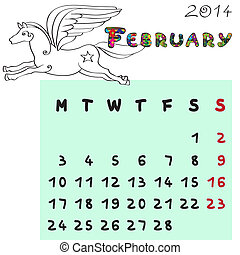 2014, février, cheval, calendrier