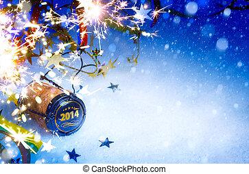 2014, fête, art, nouvel an, fond, noël