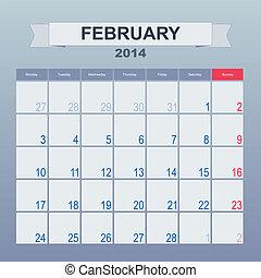 2014, febrero, monthly., calendario, horario