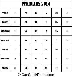 2014 FEBRUARY Planner Calendar