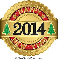 2014, felice, nuovo, etichetta, dorato, anno