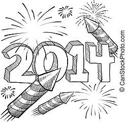 2014, feux artifice, croquis