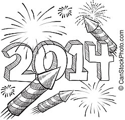 2014 fireworks sketch - Doodle style 2014 New Year...