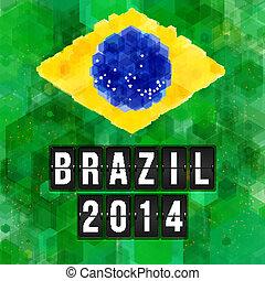 2014, football, hexagone, poster., brésil, vecteur, arrière-plan., illustration.
