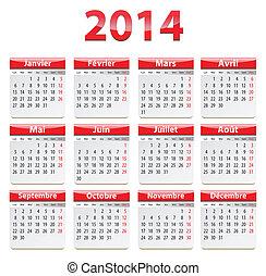 2014, francés, calendario